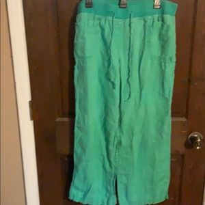 Womens 1X Plus Green Linen Pants: Style & Co